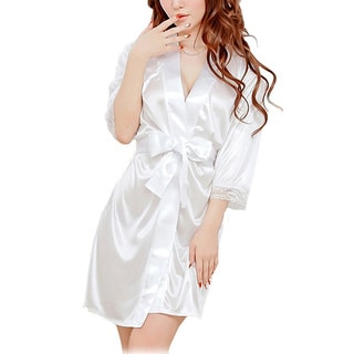 Women's Satiny Robe with Matching G-String Panty (Option: Blue)