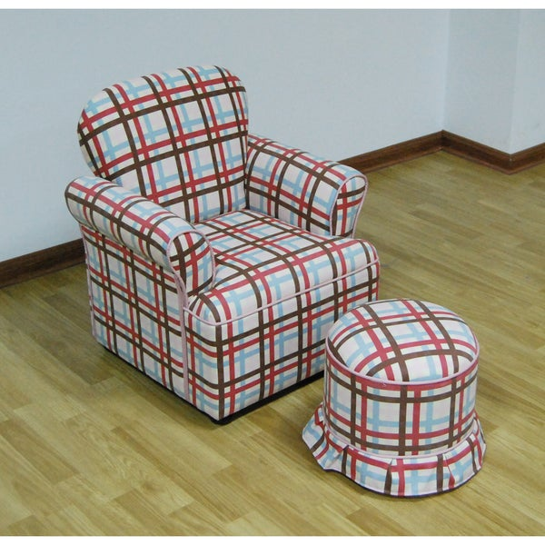 ROLLED ARM CHAIR WITH ROUND OTTOMAN/PLAID
