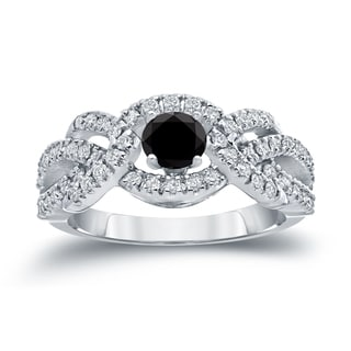 Auriya 14k Gold 1ct TDW Black and White Diamond Engagement Ring (Black, I1-I2)