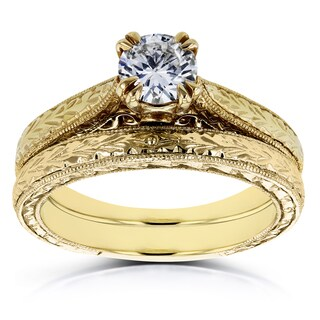 Annello by Kobelli 14k Yellow Gold 1/2ct TDW Round Diamond Vintage Bridal Set