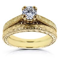 Annello by Kobelli 14k Yellow Gold 1/2ct TDW Round Diamond Vintage Bridal Set