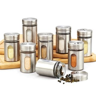 cook n home 8piece window spice bottle set with stainless steel cap