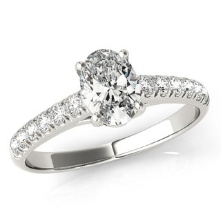 Scintilenora French Pave GIA Certified Oval Cut Diamond Engagement Ring 18k White Gold 1 1/2 TDW
