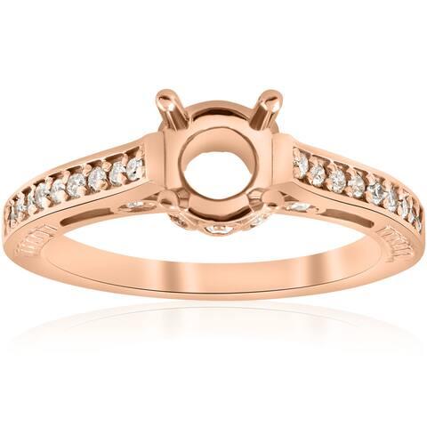14k Rose Gold 1/5 ct TDW Diamond Semi Mount Vintage Engagement Ring Setting (I-J, I2-I3)