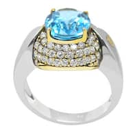 De Buman 18k Yellow Gold and Sterling Silver Genuine Swiss Blue Topaz & Cubic Zirconia Solid Ring, Size 7