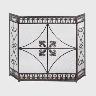 Stylish Fleur-De-Lis Fireplace Screen