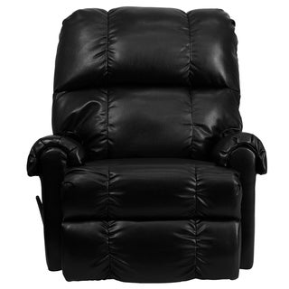 Delray Black Leather Plushy Rocking Recliner