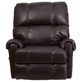 Jennifer Brown Leather Plushy Rocking Recliner