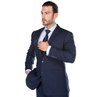 Verno Men' s Navy Blue Peak Lapel Classic Fit Two Piece Suit