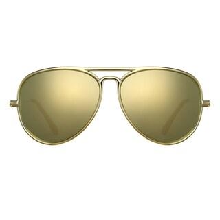 Deep Lifestyles Metallic Gold Unisex Men Women Lightweight Aviator Sunset Sunglasses