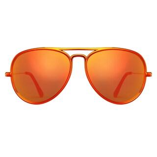 Deep Lifestyles Metallic Orange Unisex Men Women Lightweight Aviator Sunset Sunglasses