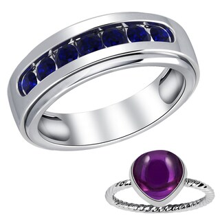Orchid Jewelry Sterling Silver Sapphire & Amethyst Rings Set for Father & Daughter