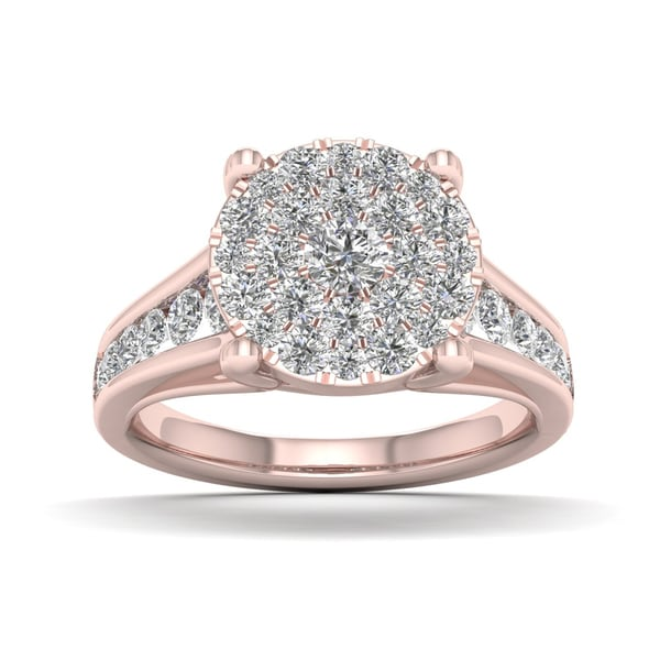 De Couer 1ct TDW Diamond Cluster Engagement Ring - Pink