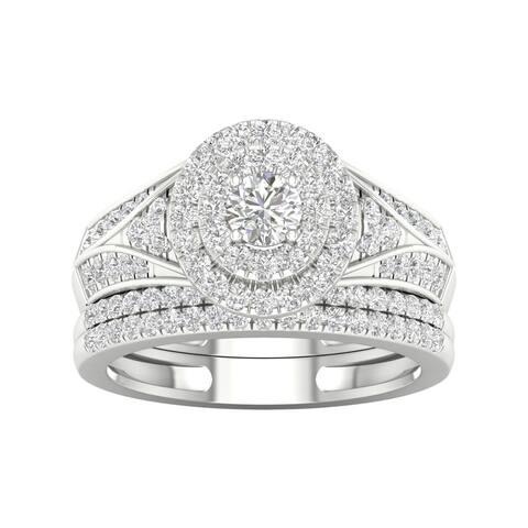 De Couer 1ct TDW Diamond Halo Engagement Ring Set - White