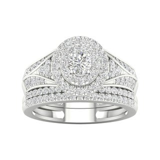 De Couer 1ct TDW Diamond Halo Engagement Ring Set - White