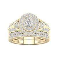 De Couer 1ct TDW Diamond Halo Engagement Ring Set - Yellow