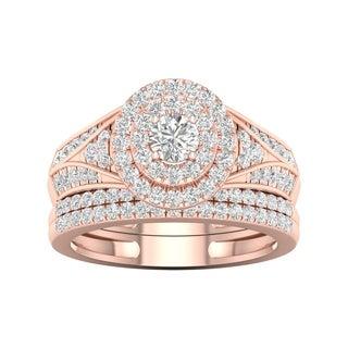 De Couer 1ct TDW Diamond Halo Engagement Ring Set - Pink