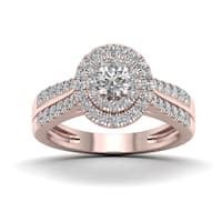 De Couer 3/4ct TDW Diamond Halo Engagement Ring - Pink