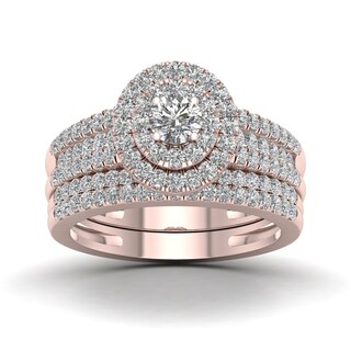 De Couer 1ct TDW Diamond Halo Engagement Ring Set - Pink