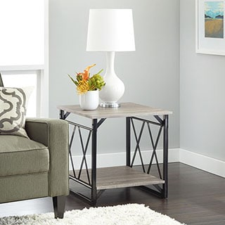 Simple Living Seneca XX Black/ Grey Reclaimed Look End Table