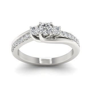 De Couer 1/2ct TDW Diamond Three Stone Bypass Ring (H-I, I2) - White