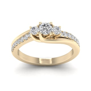 De Couer 1/2ct TDW Diamond Three Stone Bypass Ring (H-I, I2) - Yellow