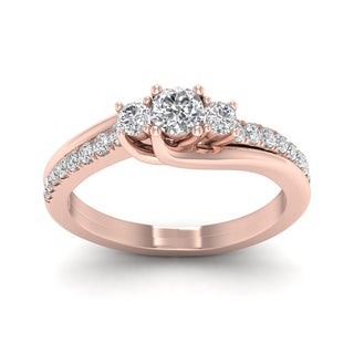 De Couer 1/2ct TDW Diamond Three Stone Bypass Ring (H-I, I2) - Pink
