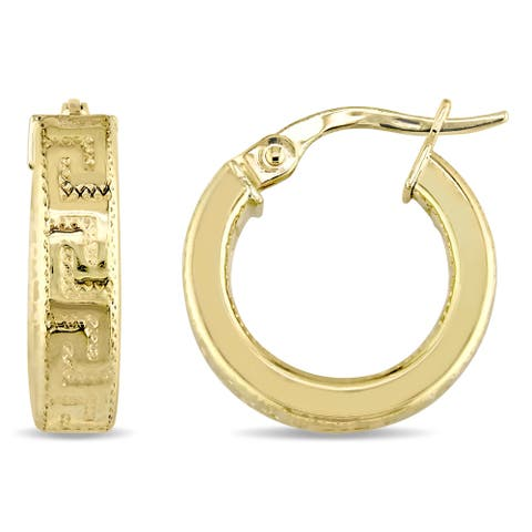 Miadora 10k Yellow Gold Thick and Medium-Sized Greek Key Textured Hoop Earrings