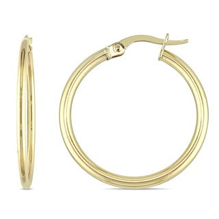 Miadora 10k Yellow Gold Medium-Sized and Rounded Tube Hoop Earrings