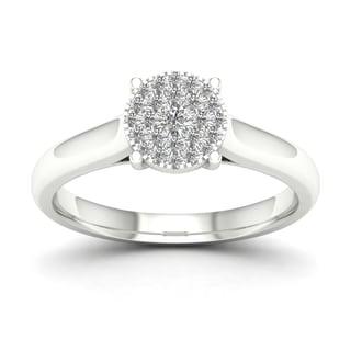 De Couer 1/4ct TDW Diamond Cluster Engagement Ring