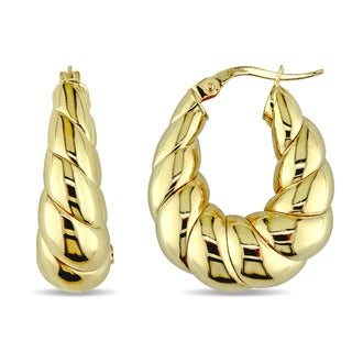 Miadora Signature Collection 14k Yellow Gold Vintage Twisted Hoop Earrings