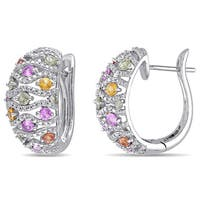Miadora Signature Collection 14k White Gold Green Yellow Pink Sapphire 1/4ct TDW Diamond Studded Hinged Hoop Earrings
