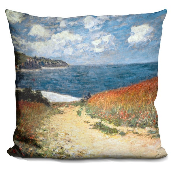 Claude Monet 'Path in the Wheat at Pourville' Square Throw Pillow