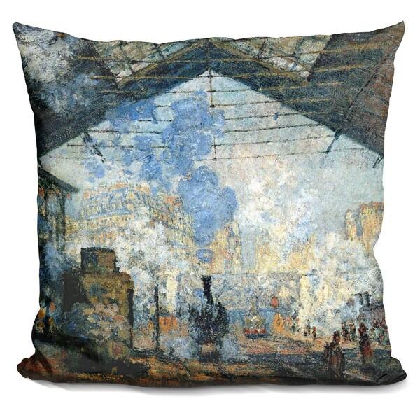 Claude Monet 'La gare Saint-Lazare' Throw Pillow