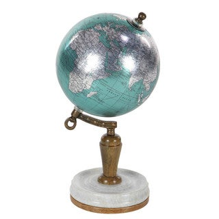 Stunning Pu Wood and Metal World Globe