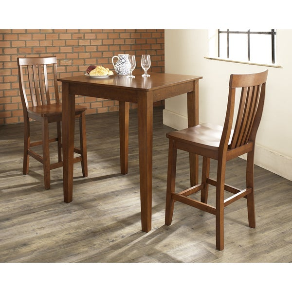 3 Piece Pub Dining Set with Tapered Leg and School House Stools in Classic Cherry Finish