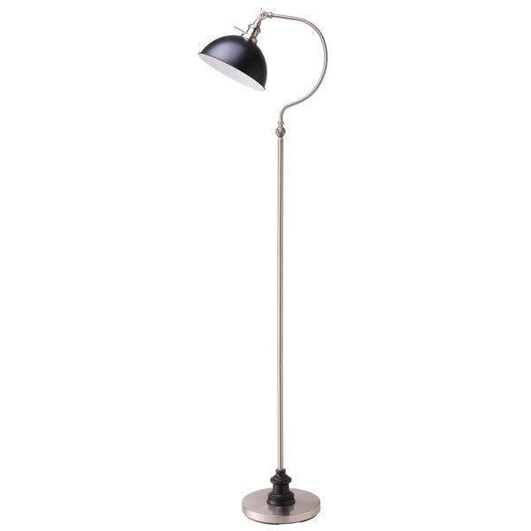 Q-Max 31180F-SN Black and Silvertone 69-inch Goose-neck Arched Floor Lamp