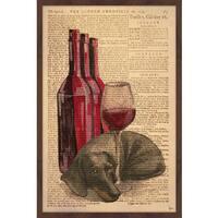 'Weiner Dog Wine II' Framed Painting Print