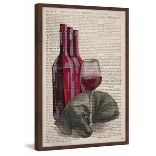 'Weiner Dog Wine' Framed Painting Print