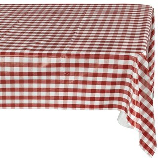 Ottomanson Vinyl Red Checkered Design Indoor and Outdoor Tablecloth Non-Woven Backing 55 X 102