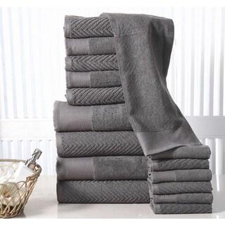 Elegance Spa 100% Combed Cotton Jacquard Chevron 16 Piece Towel Set