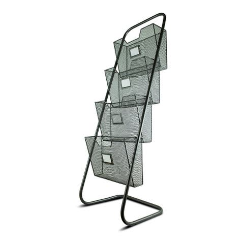 American Art Decor Metal Magazine Rack with Four Compartments Free Standing