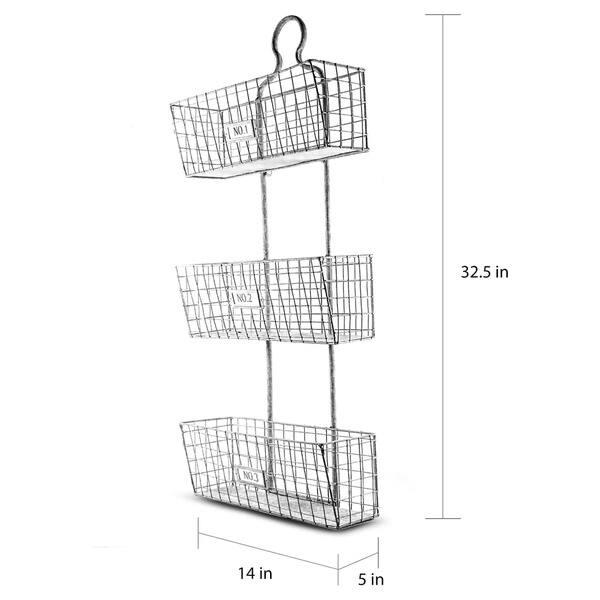 Three Tier Storage Wire Baskets Wall