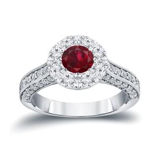 Auriya 14K Gold 1/2ct Ruby and 1 1/2ct TDW Diamond Cluster Engagment Ring (H-I I1-I2)