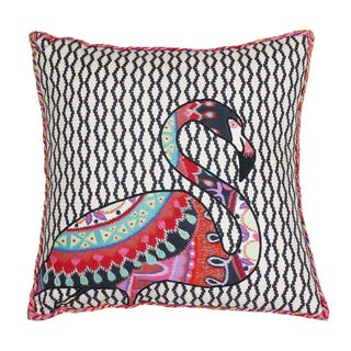 Thro Zazu Flamingo Embroidered Cotton Throw Pillow