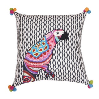 Thro Iago Parrot Embroidered Throw Pillow