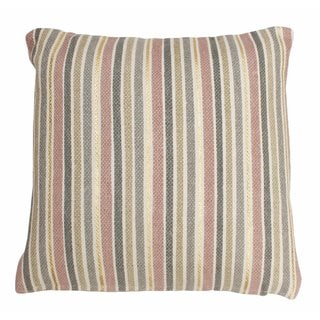 Thro Susana Multicolor Cotton 20-inch Square Striped Foil Printed Throw Pillow