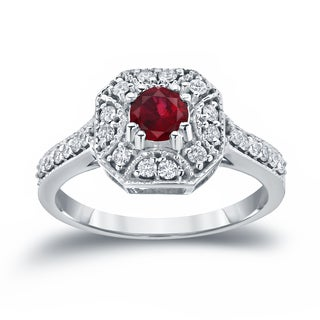 Auriya 14k Gold 1/2ct Ruby and 1/3ct TDW Diamond Cluster Engagement Ring (H-I I1-I2) - Red