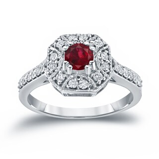 14k Gold 1/2ct Ruby and 1/3ct TDW Diamond Cluster Engagement Ring by Auriya