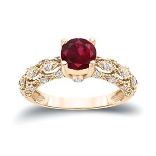 Auriya 14k Gold 1ct Ruby and 1/4ct TDW Diamond Engagement Ring (H-I I1-I2) - Red